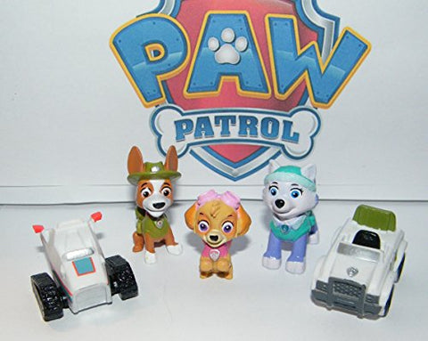 Paw Patrol Deluxe Figure Set Of 14 Toy Kit With Original And New Pups Like Everest And Tracker, New Vehicles, Special Sticker And A Collectilbe Pawring!