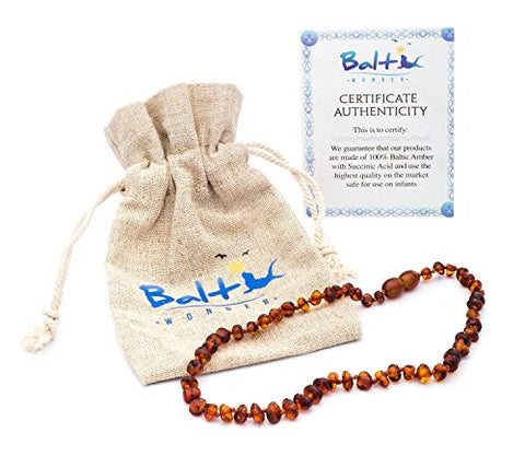 Baltic Amber Teething Necklace For Babies (Unisex) (Cognac) - Anti Flammatory, Drooling &Amp; Teething Pain Reduce Properties - Natural Certificated Oval Baltic Jewelry With The Highest Quality Guaranteed