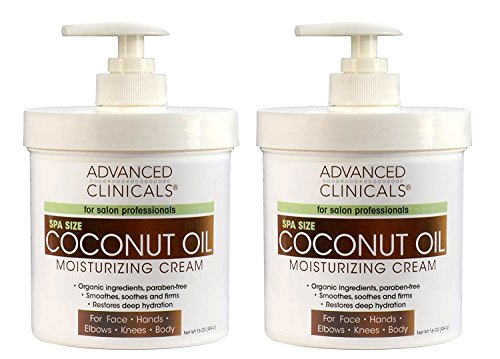 Advanced Clinicals Coconut Oil Cream. Two Spa Size 16Oz Moisturizing Lotion Jars