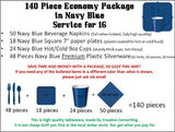 140 Piece Economy Party Supplies Package In Navy Blue Color, Has Cutlery, Plates, Cups, Napkins, Forks, Spoons, And Knives. For Weddings, Anniversary, Baby Shower, Birthday, Any Party.