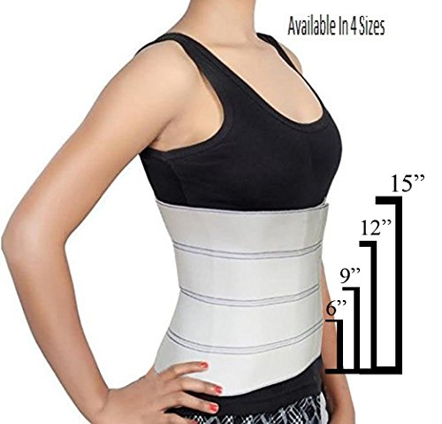 Abdominal Binder Waist Trainer, Waist Trimmer, Support Post-Operative, Post Pregnancy And Abdominal Injuries. Post-Surgical Abdominal Binder Comfort Belly Binder (Small (30  - 45 ), 12  High)