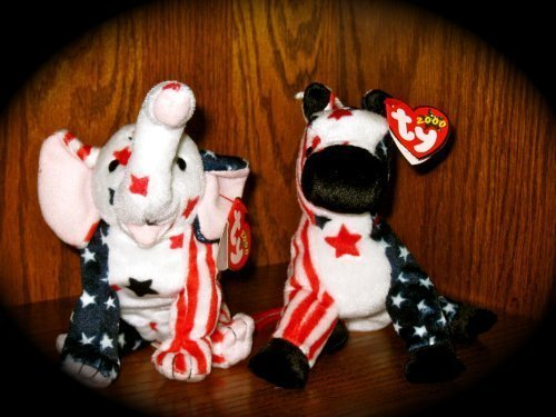 Ty Lefty 2000 And Righty 2000 Beanie Babies