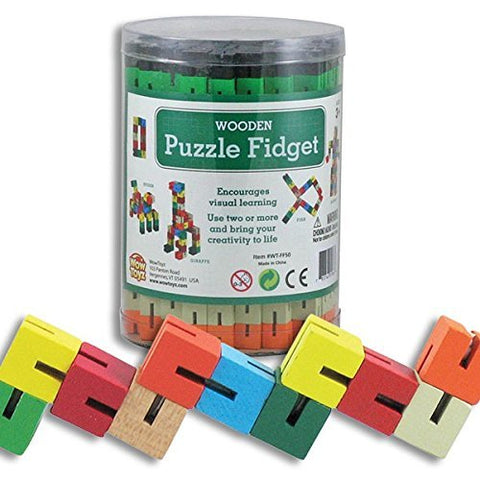 4 Wooden Fidget - Stretchy Sensory Toys - Stress Relief - Learning Tools - Classroom Office Puzzle Party Favors