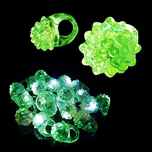 Fun Central Aj291 24 Count Led Jelly Green Bumpy Rings, Green Glow Rings, Flashing Rings, Jelly Rings, Led Rings, Glow In The Dark Rings, Flashing Led Bumpy Rings - Green