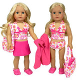 18 Inch Doll Bathing Suit 6 Piece Set By Sophia'S, Fits 18 Inch American Girls Dolls &Amp; More! 2 Pc. Bathing Suit, Skirt, Sandals, Beach Bag, &Amp; Towel