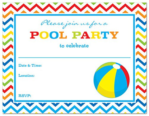 24 Pool Party Beach Ball Fill-In Kids Birthday Party Invitations