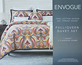 Eclectic Mid-Century Modern Glamour Paisley Pattern Duvet Quilt Cover 3Pc Bedding Set By Envogue, 400Tc Cotton Luxury Hippie Boho Chic Style Vibrant Medallion Design (Full/Queen)