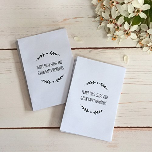 25 'Plant These Seeds And Grow Happy Memories' Unfilled Seed Packet Funeral Favour Envelopes - By Angel &Amp; Dove