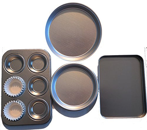 Easy Oven Bake Cake Pan 4 Pans And 25 Cup Cake Papers Set Includes Cupcake Pan Square Pan And 2 Round Pan By E&B