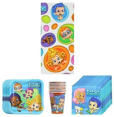 Bubble Guppies Birthday Party Supplies Pack Bundle Kit Including Plates, Cups, Napkins And Tablecover - 8 Guests