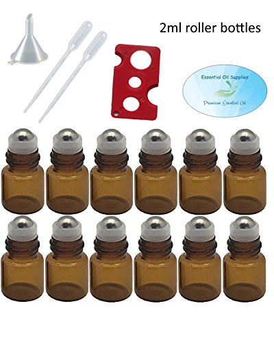 2Ml (5/8 Dram) Amber Glass Roller Bottles With Stainless Steel Balls , Funnel, Pipettes, And Essential Oil Bottle Opener
