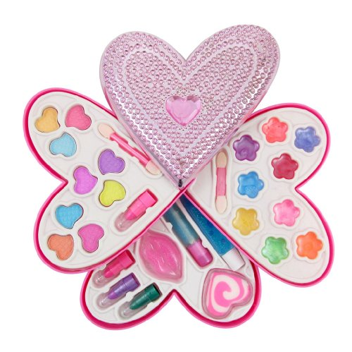 Petite Girls Heart Shaped Cosmetics Play Set - Fashion Makeup Kit For Kids