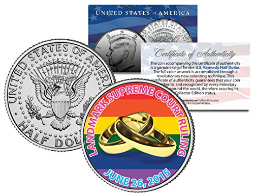 Gay Pride Marriage Equality 2015 Jfk Half Dollar Us Coin Wedding Rings 6/26/2015