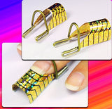 5Pcs Golden Reusable Uv Gel Acrylic Nail Art Tips Extension Guide Form Tool