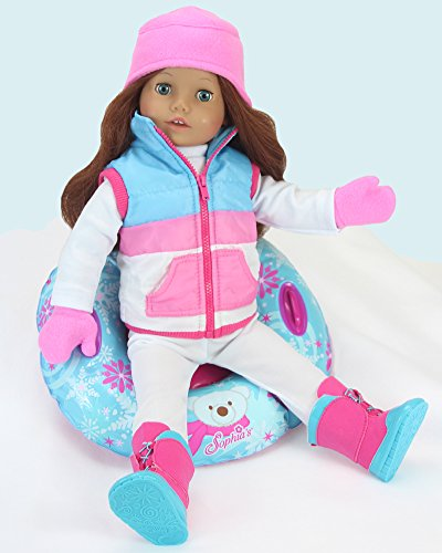 18 Inch Doll Clothes Winter Accessory 4 Pc. Set, Snow Tube Set Includes A Vest, Hat, &Amp; Mittens! Perfect For Your 18 Inch American Girl Dolls &Amp; More! Winter Vest, Hat, Mittens &Amp; Doll Snow Tube