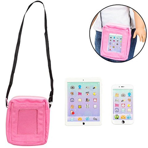 Phone And Computer Tablet Set For American Girl Dolls (Premium Metal Construction, Includes Carry Bag)