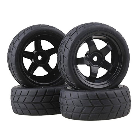 Bqlzr Black Rc 1: 10 Flat Car 12Mm Hub Wheel Rims 5 Spoke + Rubber Tires
