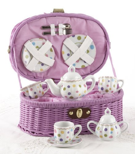 Delton Products Gumdrops Dollies Tea Set In Basket, Large