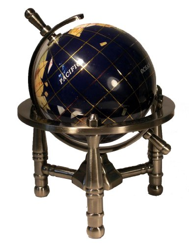 Unique Art 6-Inch By Blue Lapis Ocean Mini Table Top Gemstone World Globe With Silver Tripod