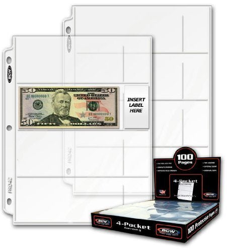 20 (Twenty) - Bcw Pro 4-Pocket Modern Currency Storage Page - Coin & Currency Collecting Supplies. Made In Usa