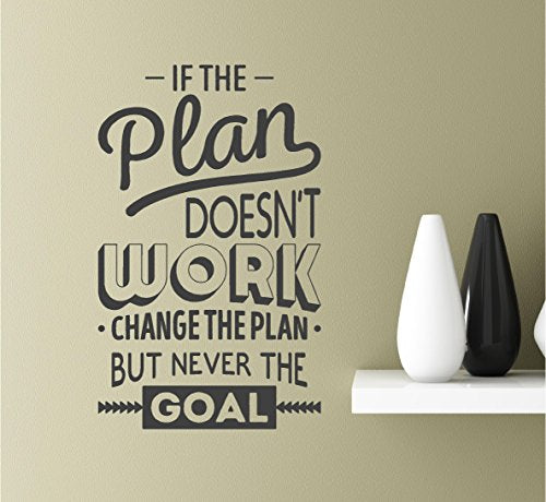 If The Plan Doesn'T Work Change The Plan But Never The Goal Vinyl Wall Art Inspirational Quotes Decal Sticke
