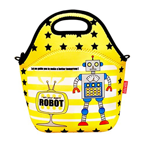 Neoprene Insulated Robot Lunch Bag For Kids Boys And Girls - Zipper Secured Tote Bag With Detachable Shoulder Strap, Machine Washable - The Best Robot Lunch Bag For Preschool, Kindergarten And Toddler