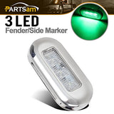 Partsam Marine Led Submersible Green Light Courtesy Boat Lights High Polished Clear Lens