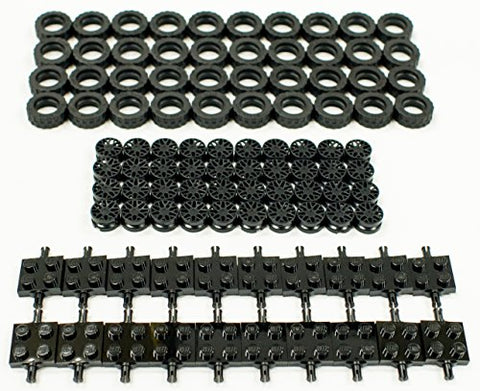 New Lego 17.5Mm X 6Mm Tire, Wheel And Square Axles Bulk Lot - 100 Pieces Total