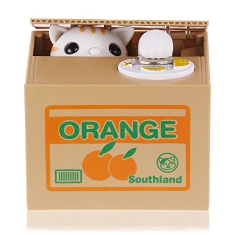Funny Cat Stealing Coin To Money Orange Box Kitty Bank Home Decor Gift Us Seller
