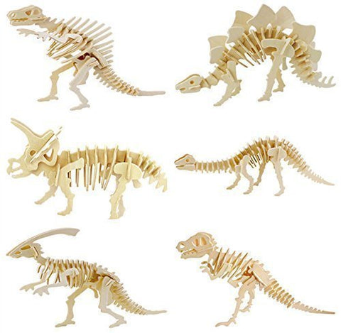 Ibuy365 6 Piece Set 3D Wooden Simulation Animal Dinosaur Assembly Puzzle Model Toy For Kids And Adults