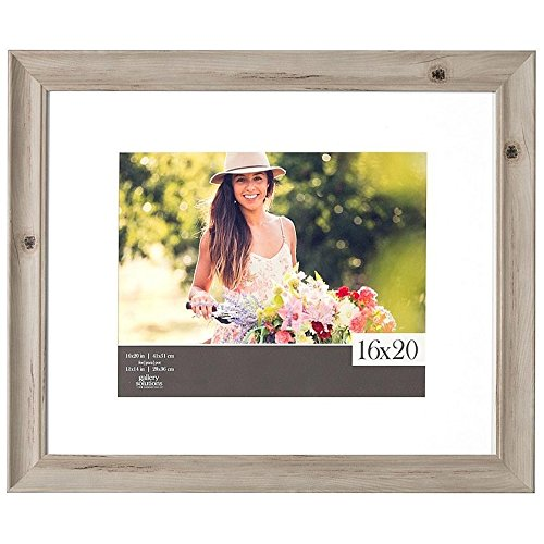 Gallery Solutions 16X20 Scooped White Wash Wall Picture Frame With White Mat For 11X14 Image