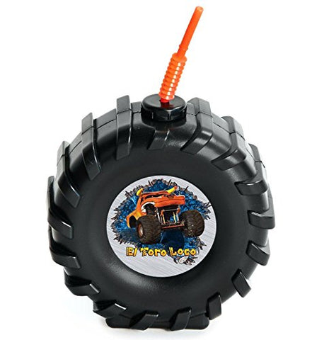 Monster Jam Childrens Birthday Party Supplies - Truck Tire Plastic Sippy Cup With Straw (16)