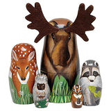 Bits And Pieces -  Woody And Friends  American Woodland Creatures Nesting Dolls - Hand Painted Wooden Nesting Dolls Matryoshka Animal Figurines - Set Of 5 Dolls From 5.5  Tall