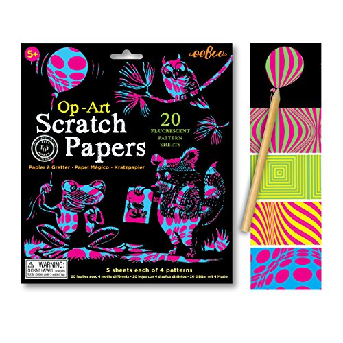 Eeboo Scratch Art Papers, 20 Fluorescent Pattern Sheets And Bamboo Stylus