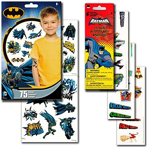 Batman Stickers & Tattoos Party Favor Pack (50 Stickers & 75 Temporary Tattoos)