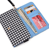 Black Houndstooth Phone Wallet Case For Samsung Galaxy On7, J7, A8, Mega 2, Mega 5.8 6.3 Smartphone Phablet