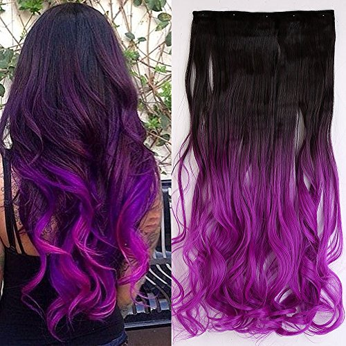 23 Inches Ombre Curly Wavy Clip In Hair Extensions 2 Tones Dip Dye Dark Brown To Dark Purple