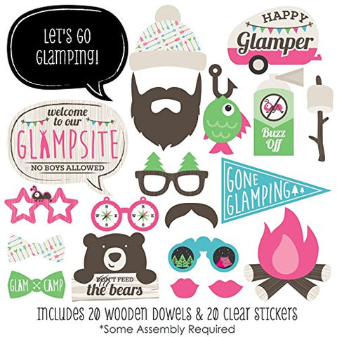 Let'S Go Glamping - Photo Booth Props Kit - 20 Count