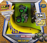New Bright R/C F/F 4X4 Monster Jam Grave Digger With 360 Flip Ramp Set (1:43 Scale), Black