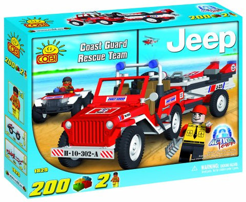 New! Cobi Jeep Willys Mb Coast Guard Rescue Team 200 Piece Building Block Set