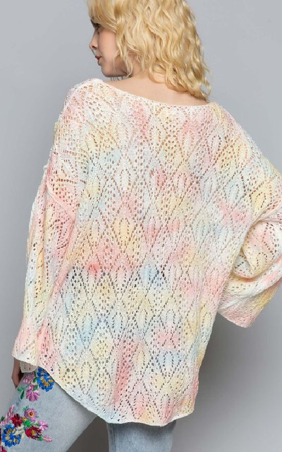Cotton Candy Open Knit Sweater