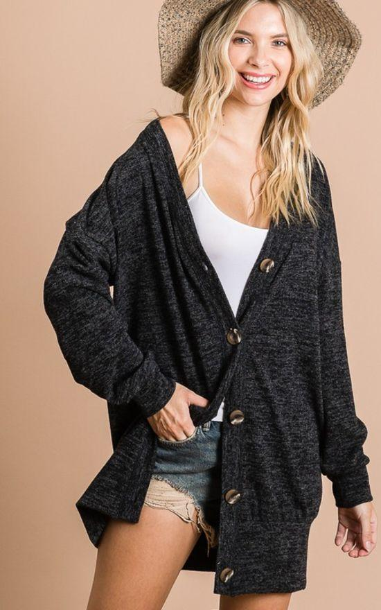 """Benny"" Button Down Boyfriend Cardigan-First Love-Sandy's Secret Wednesdays Unique Boutique"