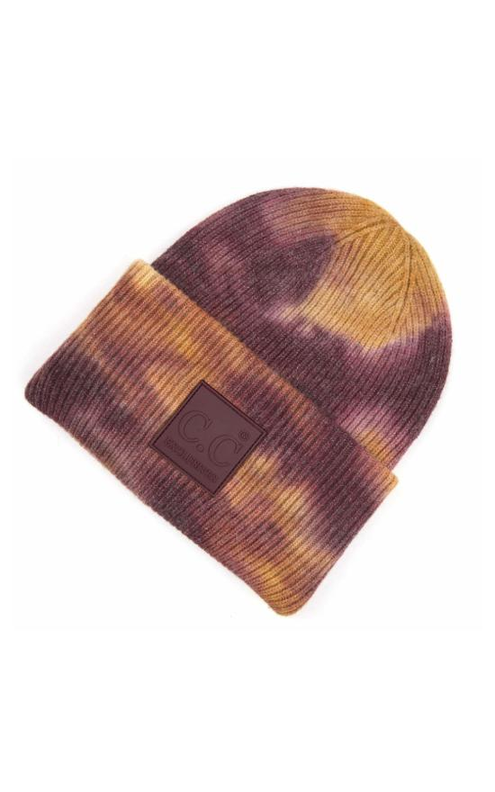 C.C Tie-Dye Ribbed Knit Beanie-C.C-Sandy's Secret Wednesdays Unique Boutique