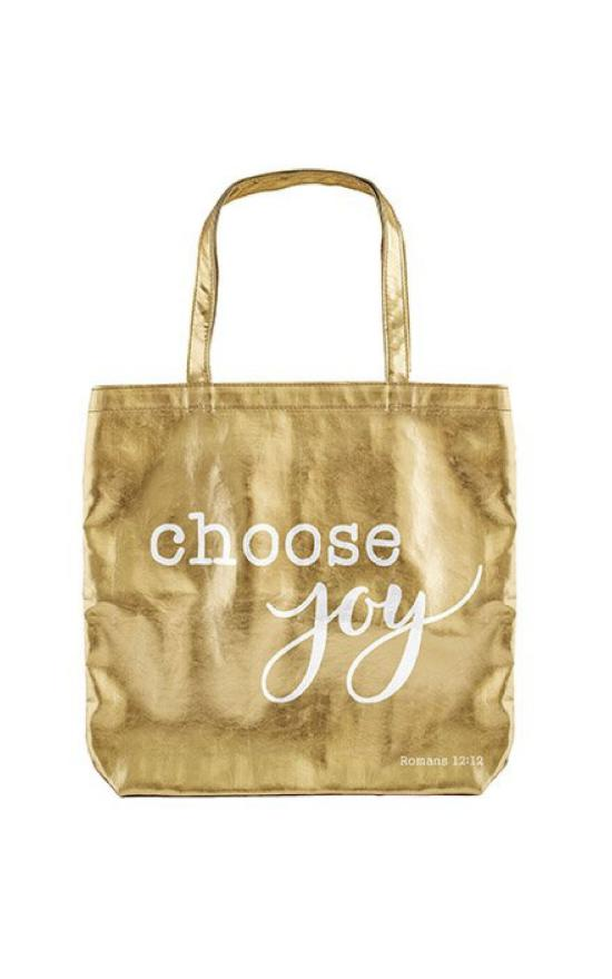 Choose Joy Metallic Tote-Faithworks-Sandy's Secret Wednesdays Unique Boutique