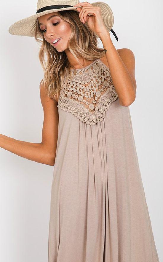** Crochet Lace Detail Side Slit Maxi-Fashion District-Sandy's Secret Wednesdays Unique Boutique