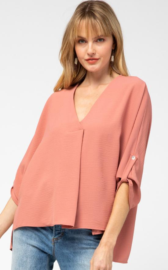 Draping Crepe V-Neck Top-Entro-Sandy's Secret Wednesdays Unique Boutique
