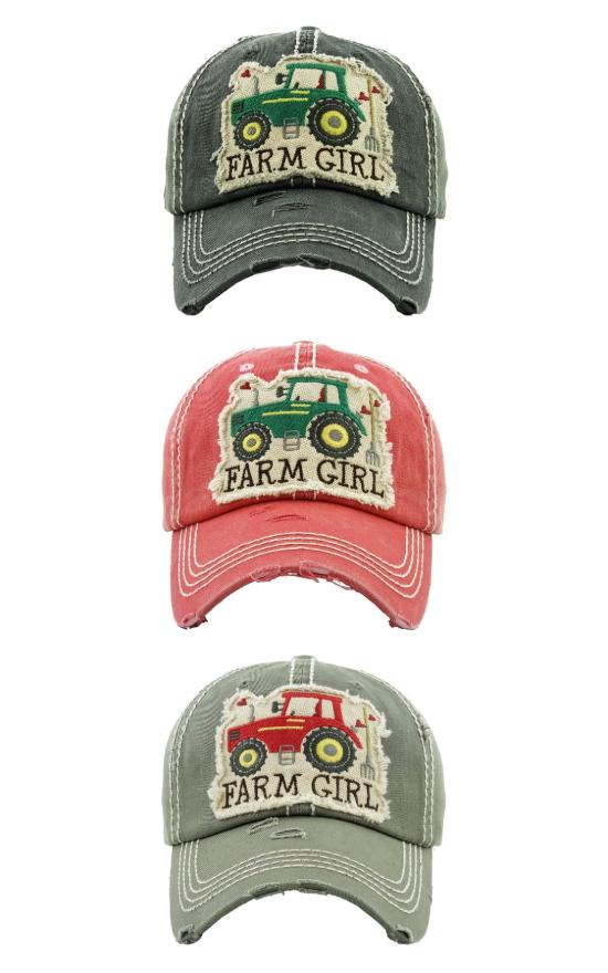 Farm Girl Distressed Baseball Hat-Judson & Company-Sandy's Secret Wednesdays Unique Boutique