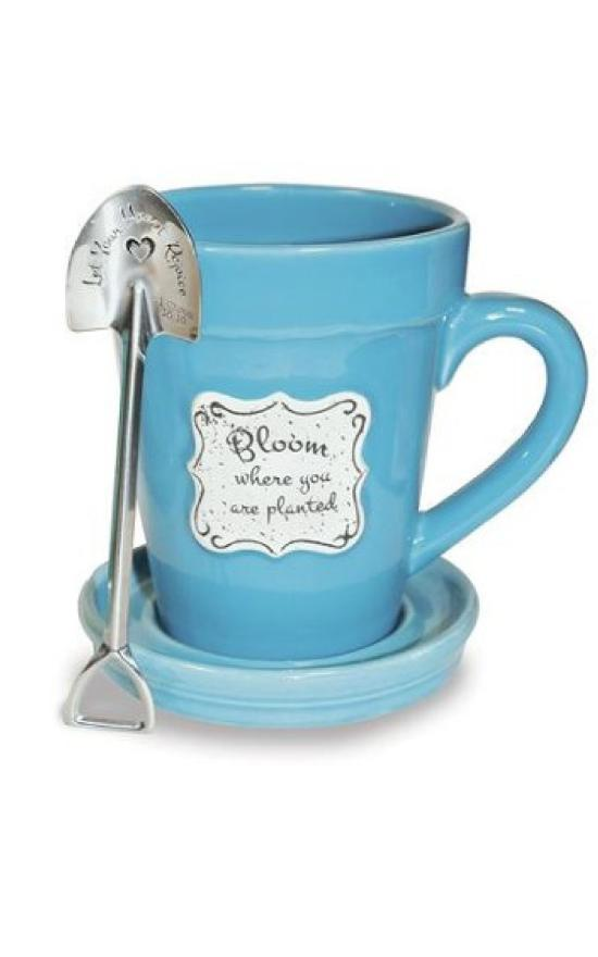 Flower Pot Mug With Shovel Spoon-Nichole Brayden Gifts-Sandy's Secret Wednesdays Unique Boutique