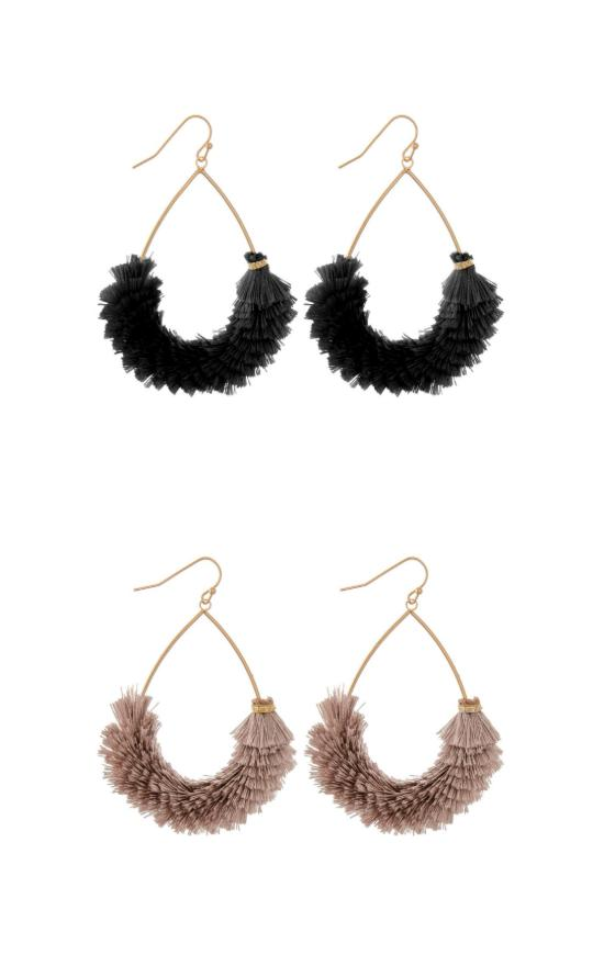 Fringe Tassel Teardrop Earring-Judson & Company-Sandy's Secret Wednesdays Unique Boutique