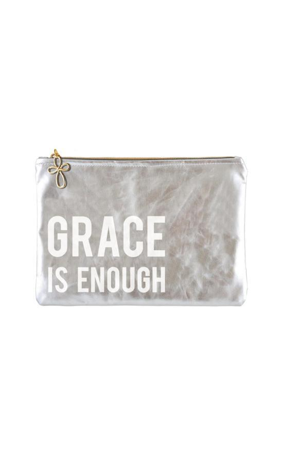 Grace Is Enough Metallic Pouch-Faithworks-Sandy's Secret Wednesdays Unique Boutique